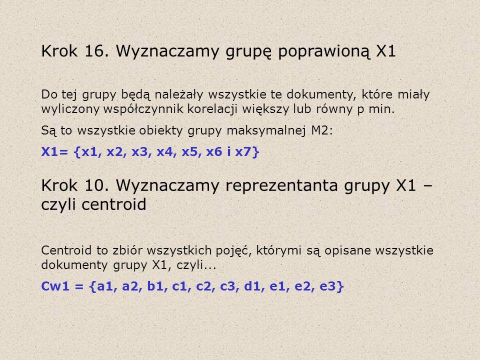 Krok 16. Wyznaczamy grupę poprawioną X1 Do tej grupy będą należały wszystkie te dokumenty, które miały wyliczony współczynnik korelacji większy lub ró