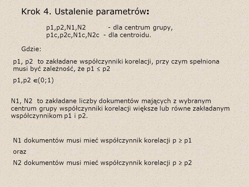 Krok 4. Ustalenie parametrów: p1,p2,N1,N2 - dla centrum grupy, p1c,p2c,N1c,N2c - dla centroidu. Gdzie: p1, p2 to zakładane współczynniki korelacji, pr