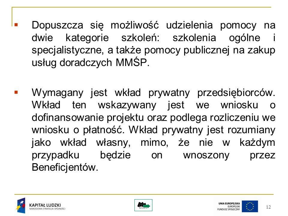 12 Dopuszcza się możliwość udzielenia pomocy na dwie kategorie szkoleń: szkolenia ogólne i specjalistyczne, a także pomocy publicznej na zakup usług doradczych MMŚP.
