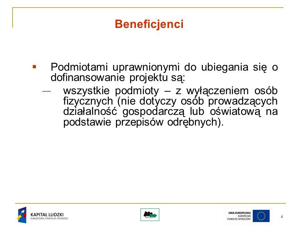 4 Beneficjenci Podmiotami uprawnionymi do ubiegania się o dofinansowanie projektu są: wszystkie podmioty – z wyłączeniem osób fizycznych (nie dotyczy osób prowadzących działalność gospodarczą lub oświatową na podstawie przepisów odrębnych).