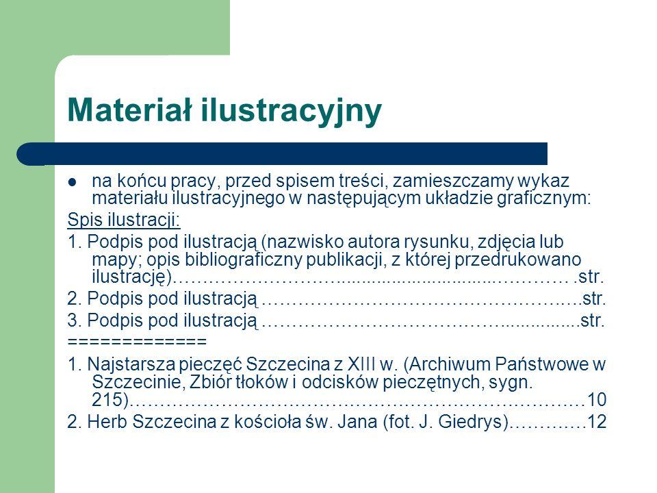 Materiał ilustracyjny na końcu pracy, przed spisem treści, zamieszczamy wykaz materiału ilustracyjnego w następującym układzie graficznym: Spis ilustracji: 1.