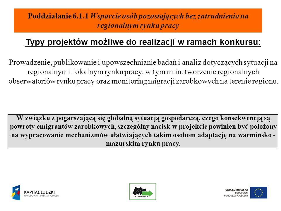 Typy projektów możliwe do realizacji w ramach konkursu: Prowadzenie, publikowanie i upowszechnianie badań i analiz dotyczących sytuacji na regionalnym i lokalnym rynku pracy, w tym m.in.