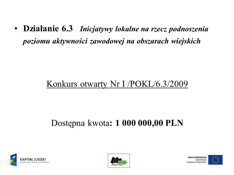 Działanie 6.3 Inicjatywy lokalne na rzecz podnoszenia poziomu aktywności zawodowej na obszarach wiejskich Konkurs otwarty Nr I /POKL/6.3/2009 Dostępna kwota: 1 000 000,00 PLN
