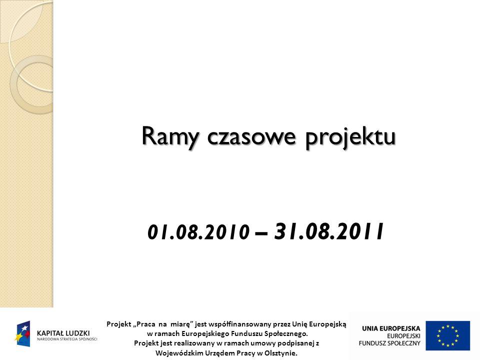 Ramy czasowe projektu Projekt Praca na miarę jest współfinansowany przez Unię Europejską w ramach Europejskiego Funduszu Społecznego. Projekt jest rea