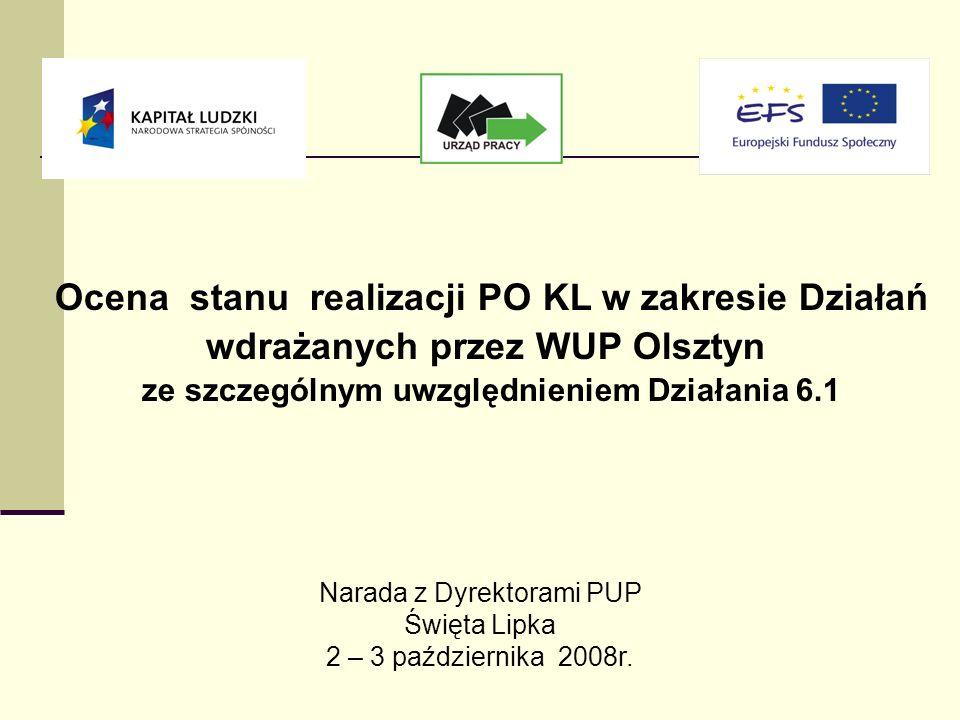 Ocena stanu realizacji PO KL w zakresie Działań wdrażanych przez WUP Olsztyn ze szczególnym uwzględnieniem Działania 6.1 Narada z Dyrektorami PUP Święta Lipka 2 – 3 października 2008r.