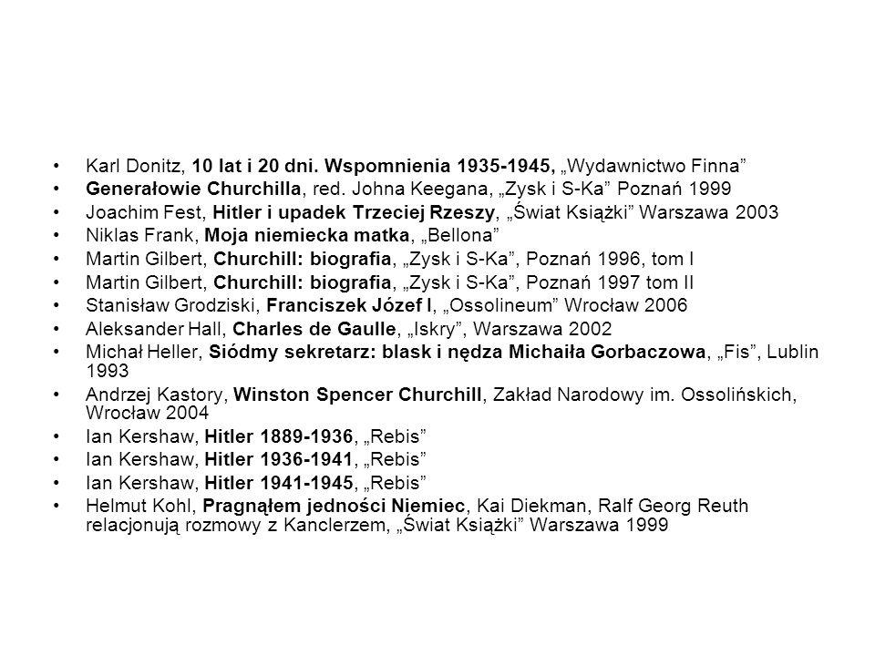 Karl Donitz, 10 lat i 20 dni. Wspomnienia 1935-1945, Wydawnictwo Finna Generałowie Churchilla, red. Johna Keegana, Zysk i S-Ka Poznań 1999 Joachim Fes