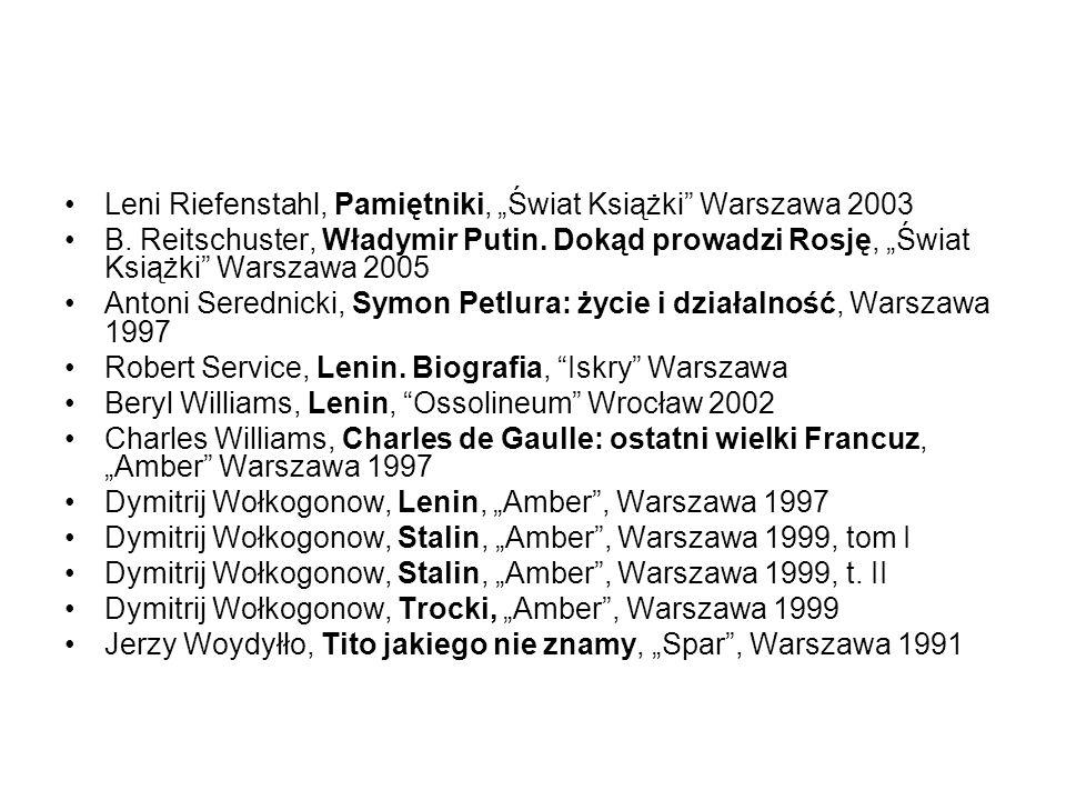 Leni Riefenstahl, Pamiętniki, Świat Książki Warszawa 2003 B. Reitschuster, Władymir Putin. Dokąd prowadzi Rosję, Świat Książki Warszawa 2005 Antoni Se