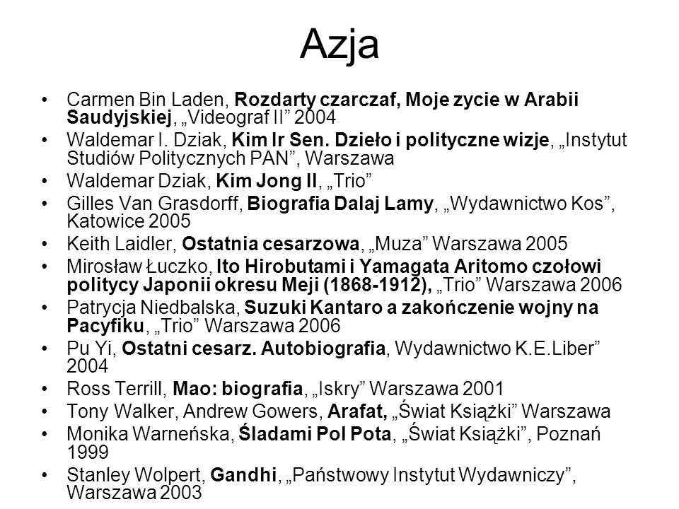 Azja Carmen Bin Laden, Rozdarty czarczaf, Moje zycie w Arabii Saudyjskiej, Videograf II 2004 Waldemar I. Dziak, Kim Ir Sen. Dzieło i polityczne wizje,