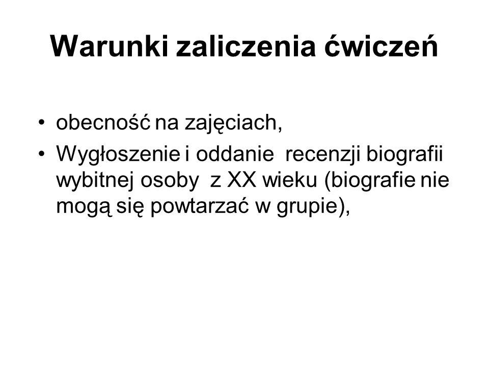 Literatura obowiązkowa A.Czubiński, Historia powszechna XX wieku, Poznań 2003 W.