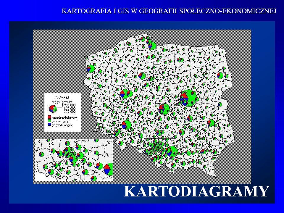 Kartodiagramem nazywamy sposób przedstawienia dowolnego zjawiska za pomocą diagramów rozmieszczonych na mapie i wyrażających bezwzględną wielkość ilościową zjawiska występującego w odpowiedniej jednostce odniesienia Definicja Za pomocą kartodiagramu można wyrazić rozmaity zakres i rodzaj zjawiska – od przedstawienia jednego tylko rodzaju zjawiska lub faktu do jednoczesnego przedstawienia kilku zjawisk, jak też ich wewnętrznych składników czy struktury