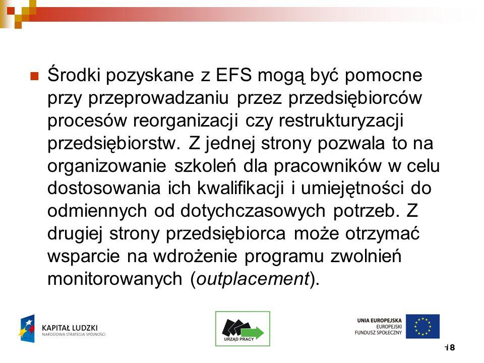 18 Środki pozyskane z EFS mogą być pomocne przy przeprowadzaniu przez przedsiębiorców procesów reorganizacji czy restrukturyzacji przedsiębiorstw.