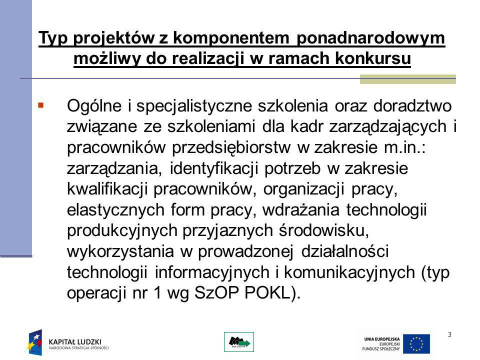 14 Współpraca ponadnarodowa Pod pojęciem partnerstwa ponadnarodowego należy rozumieć wspólną realizację działań przez polskiego Beneficjenta z co najmniej jednym partnerem zagranicznym pochodzącym z kraju członkowskiego UE, bez względu na fakt, czy realizuje on projekt współfinansowany z EFS czy nie, lub z kraju nie będącego członkiem UE.