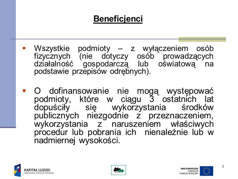 5 Beneficjenci Wszystkie podmioty – z wyłączeniem osób fizycznych (nie dotyczy osób prowadzących działalność gospodarczą lub oświatową na podstawie przepisów odrębnych).