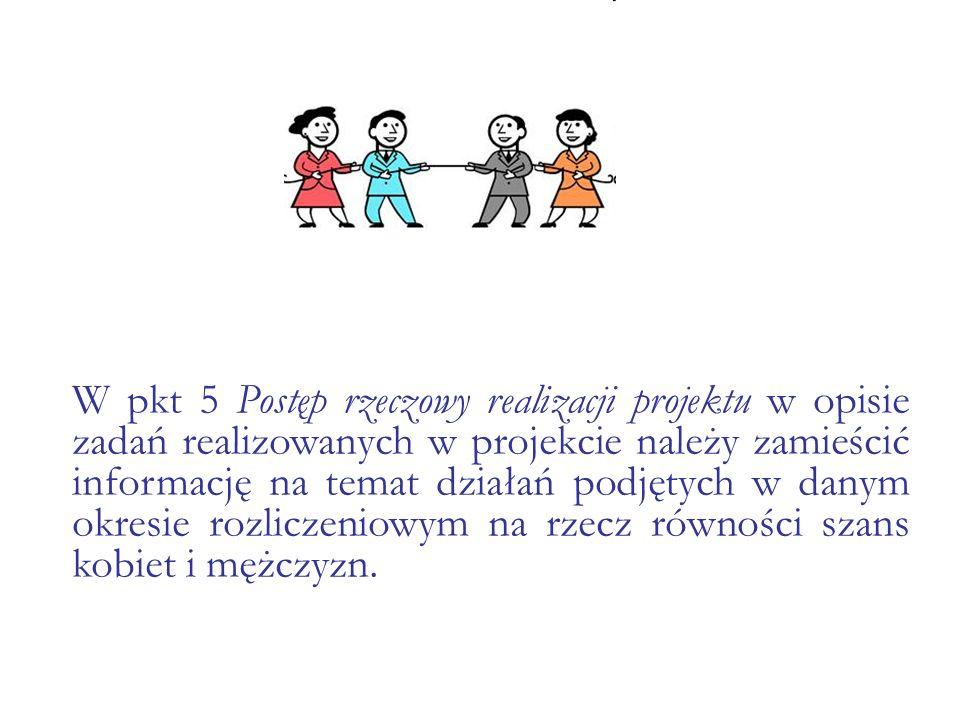 W pkt 5 Postęp rzeczowy realizacji projektu w opisie zadań realizowanych w projekcie należy zamieścić informację na temat działań podjętych w danym okresie rozliczeniowym na rzecz równości szans kobiet i mężczyzn.