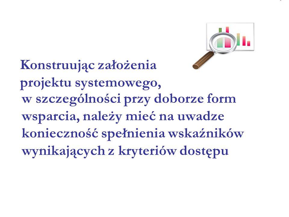 w szczególności przy doborze form wsparcia, należy mieć na uwadze konieczność spełnienia wskaźników wynikających z kryteriów dostępu Konstruując założenia projektu systemowego,
