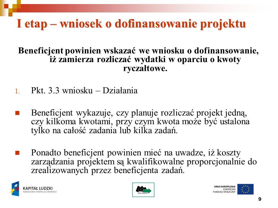 10 Przykład 3.3 Działania Wszystkie zadania w ramach projektu rozliczane będą w oparciu o 2 kwoty ryczałtowe ustalone odrębne na każde z niżej wymienionych zadań, z wyłączeniem Zarządzania projektem, którego koszty rozliczane są proporcjonalnie w ramach 2 kwot ryczałtowych.