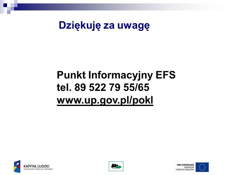 Dziękuję za uwagę Punkt Informacyjny EFS tel. 89 522 79 55/65 www.up.gov.pl/pokl
