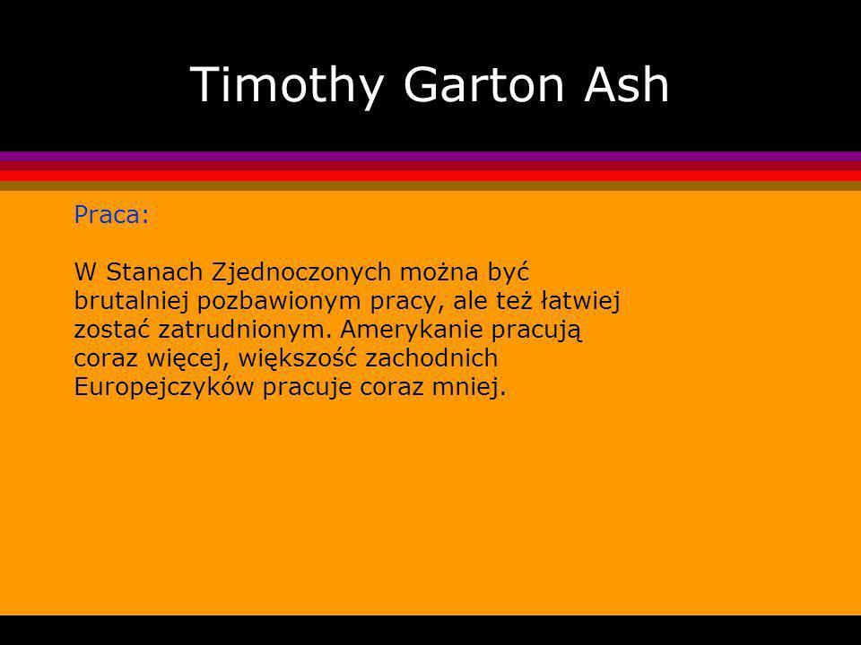 Timothy Garton Ash Praca: W Stanach Zjednoczonych można być brutalniej pozbawionym pracy, ale też łatwiej zostać zatrudnionym.