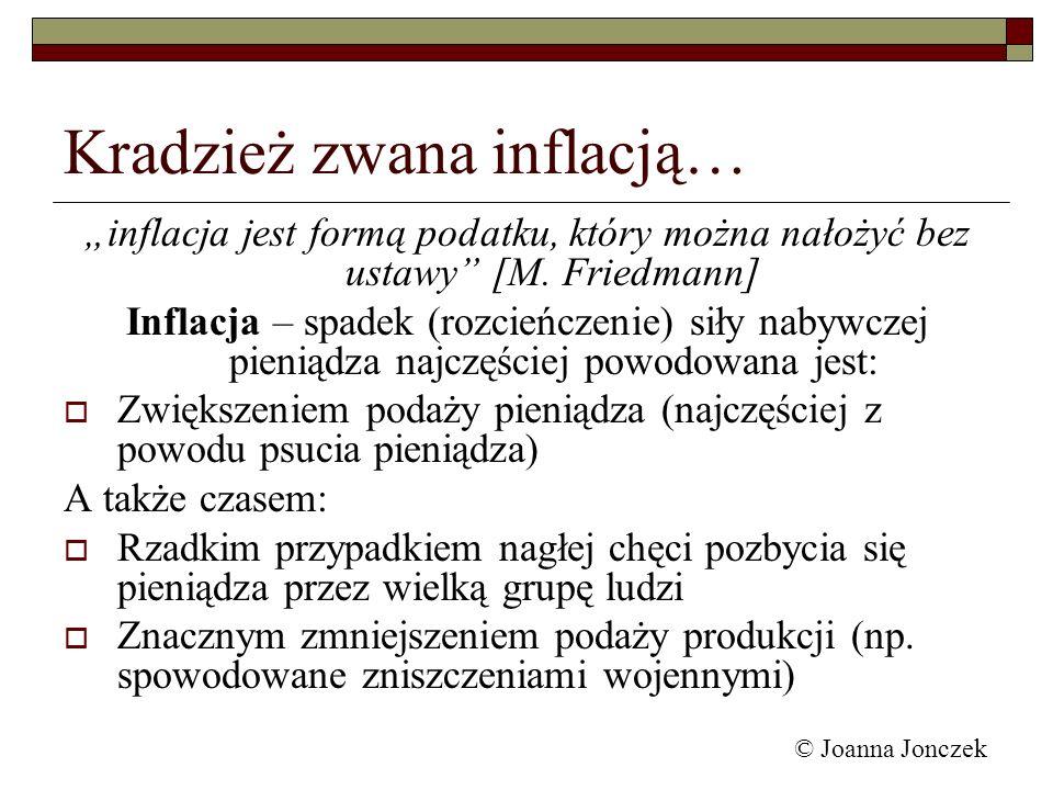 Kradzież zwana inflacją… inflacja jest formą podatku, który można nałożyć bez ustawy [M. Friedmann] Inflacja – spadek (rozcieńczenie) siły nabywczej p