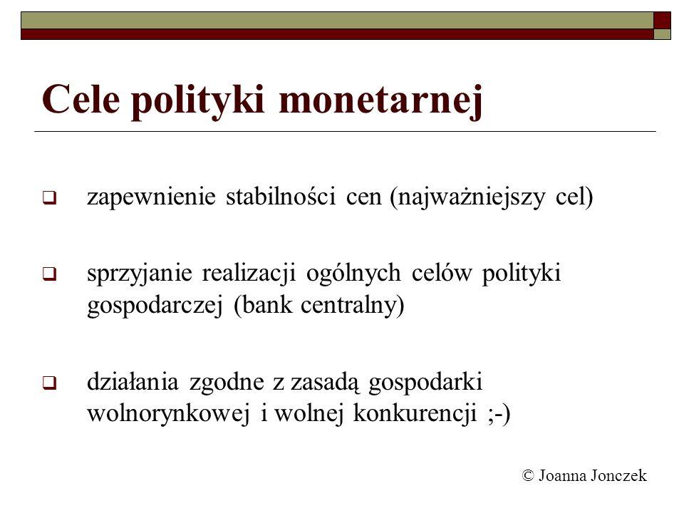 Cele polityki monetarnej zapewnienie stabilności cen (najważniejszy cel) sprzyjanie realizacji ogólnych celów polityki gospodarczej (bank centralny) d