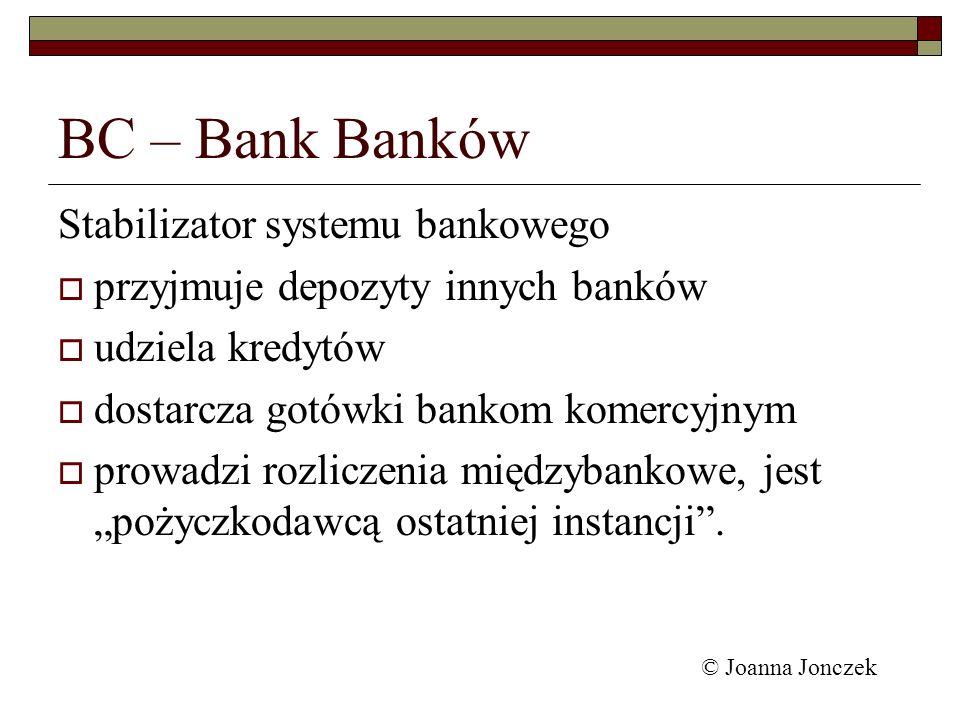 BC – Bank Banków Stabilizator systemu bankowego przyjmuje depozyty innych banków udziela kredytów dostarcza gotówki bankom komercyjnym prowadzi rozlic