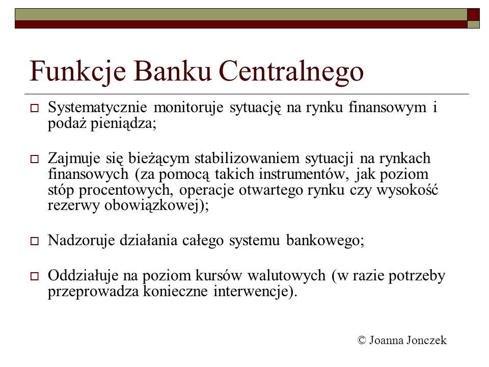 Funkcje Banku Centralnego Systematycznie monitoruje sytuację na rynku finansowym i podaż pieniądza; Zajmuje się bieżącym stabilizowaniem sytuacji na r