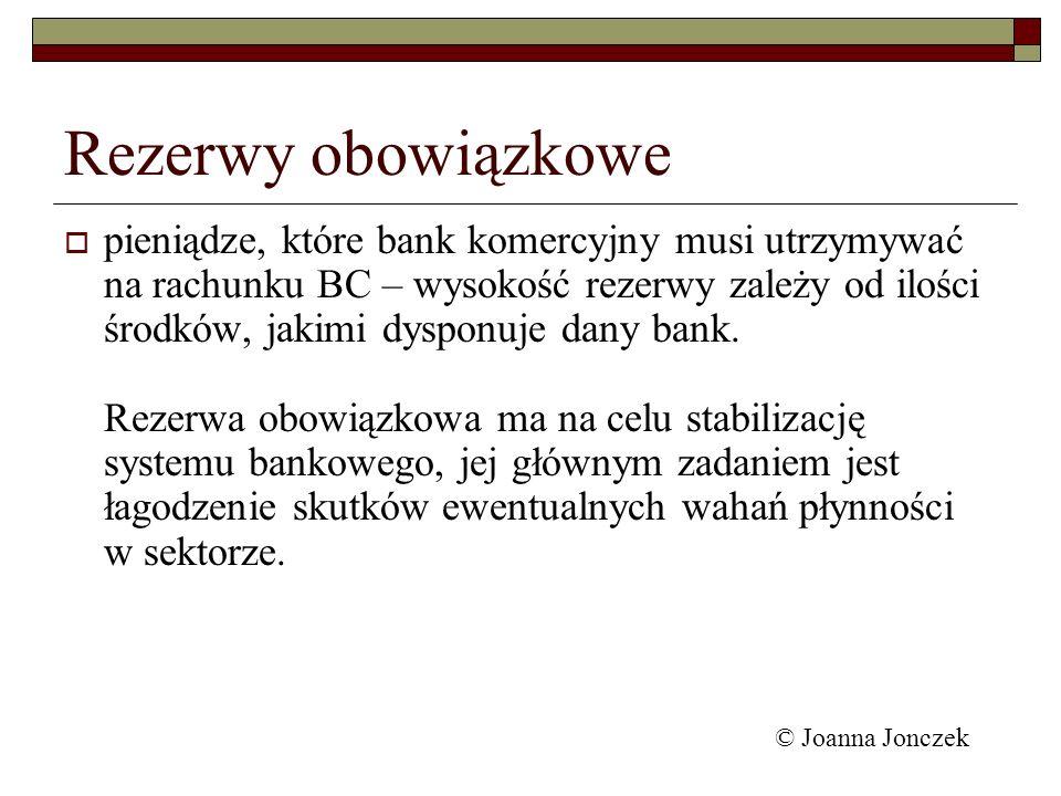 Rezerwy obowiązkowe pieniądze, które bank komercyjny musi utrzymywać na rachunku BC – wysokość rezerwy zależy od ilości środków, jakimi dysponuje dany