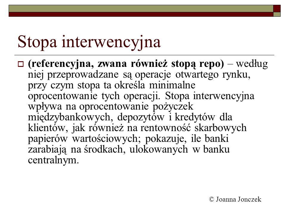 Stopa interwencyjna (referencyjna, zwana również stopą repo) – według niej przeprowadzane są operacje otwartego rynku, przy czym stopa ta określa mini