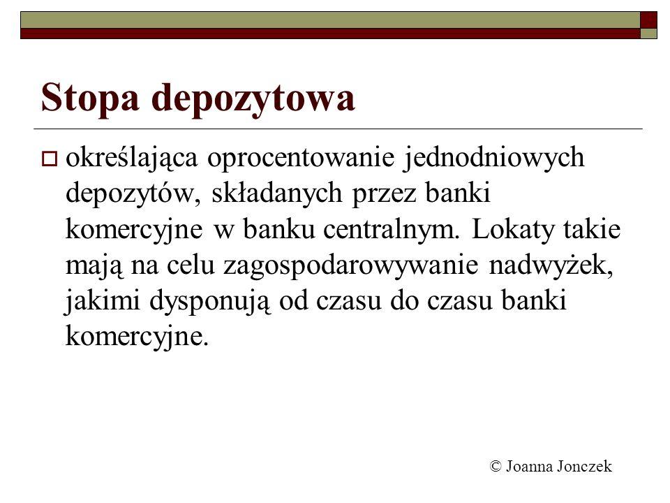 Stopa depozytowa określająca oprocentowanie jednodniowych depozytów, składanych przez banki komercyjne w banku centralnym. Lokaty takie mają na celu z