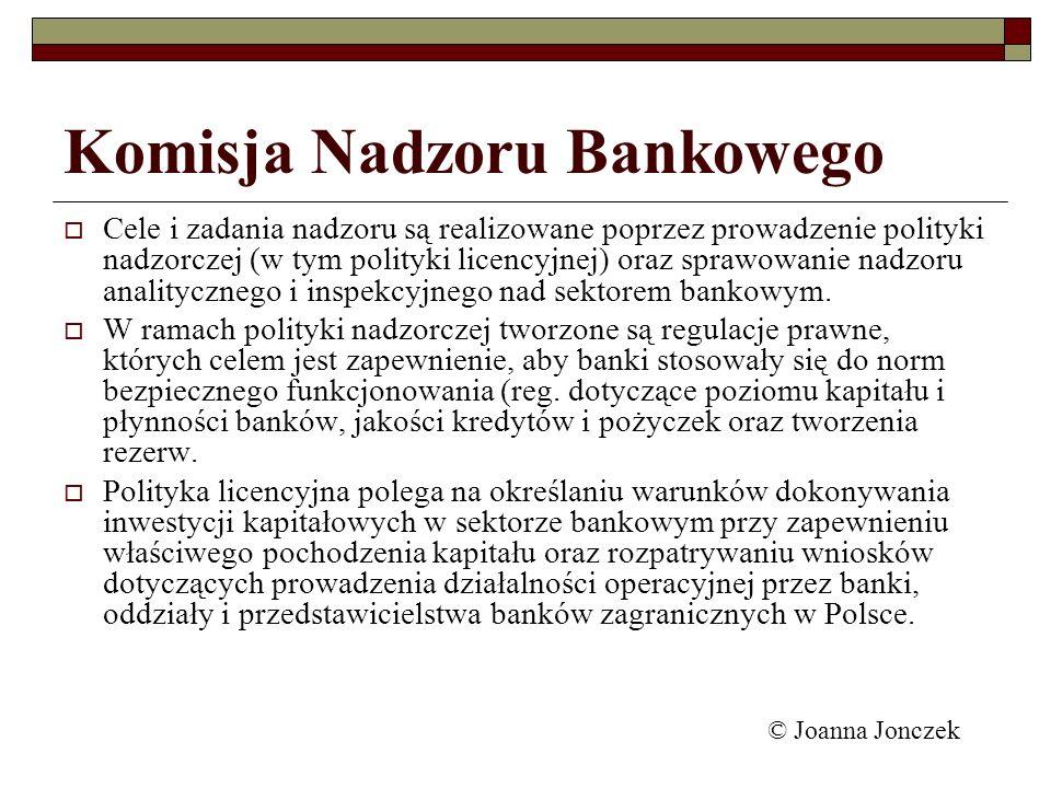 Komisja Nadzoru Bankowego Cele i zadania nadzoru są realizowane poprzez prowadzenie polityki nadzorczej (w tym polityki licencyjnej) oraz sprawowanie