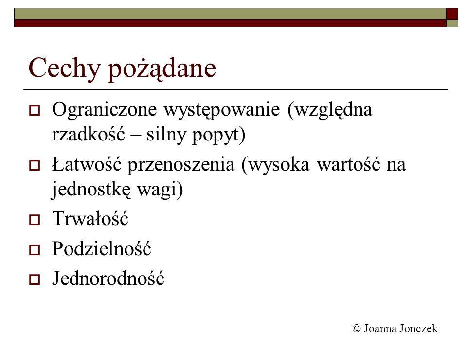 Funkcje pieniądza środek wymiany miernik kapitału ułatwia rachunek ekonomiczny środek tezauryzacji © Joanna Jonczek