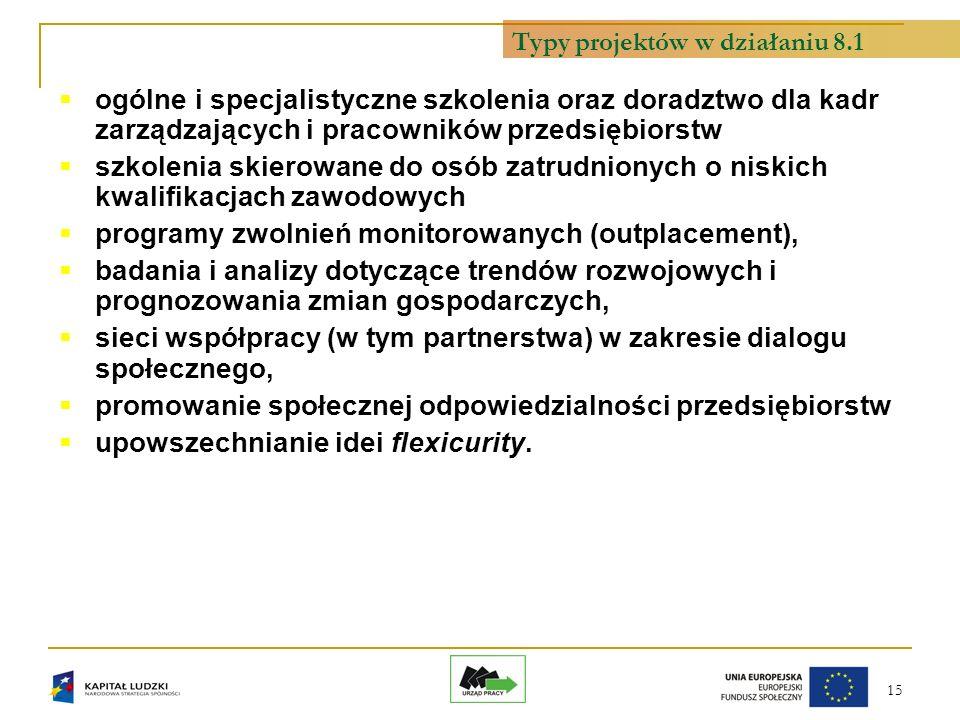 15 ogólne i specjalistyczne szkolenia oraz doradztwo dla kadr zarządzających i pracowników przedsiębiorstw szkolenia skierowane do osób zatrudnionych o niskich kwalifikacjach zawodowych programy zwolnień monitorowanych (outplacement), badania i analizy dotyczące trendów rozwojowych i prognozowania zmian gospodarczych, sieci współpracy (w tym partnerstwa) w zakresie dialogu społecznego, promowanie społecznej odpowiedzialności przedsiębiorstw upowszechnianie idei flexicurity.