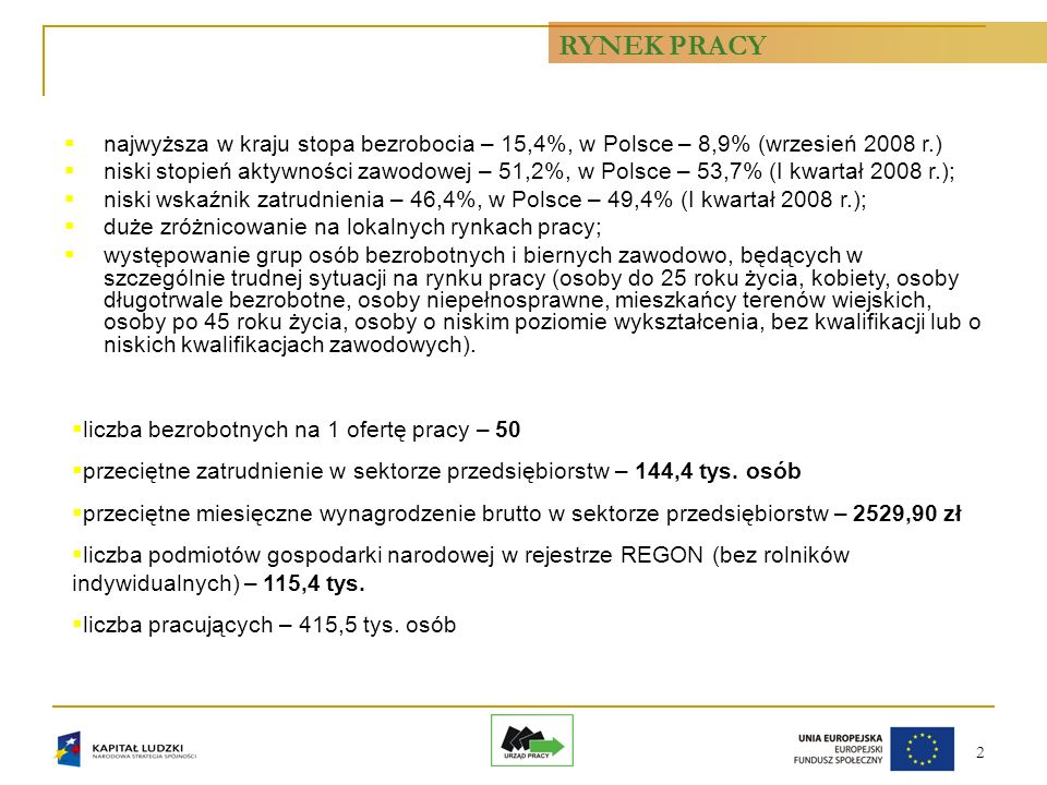 2 liczba bezrobotnych na 1 ofertę pracy – 50 przeciętne zatrudnienie w sektorze przedsiębiorstw – 144,4 tys.