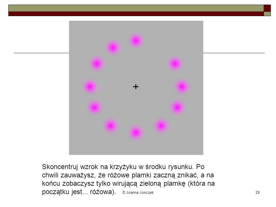 © Joanna Jonczek29 Skoncentruj wzrok na krzyżyku w środku rysunku. Po chwili zauważysz, że różowe plamki zaczną znikać, a na końcu zobaczysz tylko wir