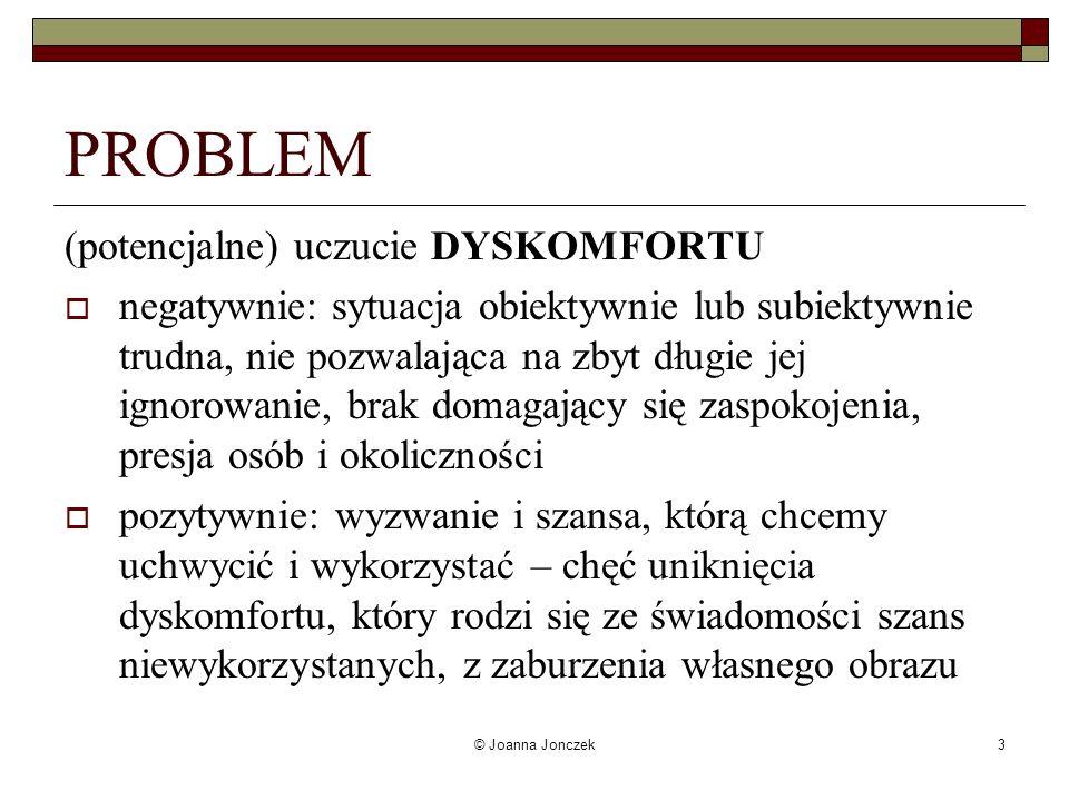 © Joanna Jonczek3 PROBLEM (potencjalne) uczucie DYSKOMFORTU negatywnie: sytuacja obiektywnie lub subiektywnie trudna, nie pozwalająca na zbyt długie j