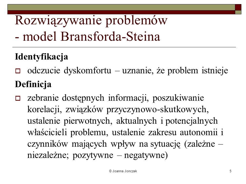 © Joanna Jonczek5 Rozwiązywanie problemów - model Bransforda-Steina Identyfikacja odczucie dyskomfortu – uznanie, że problem istnieje Definicja zebran
