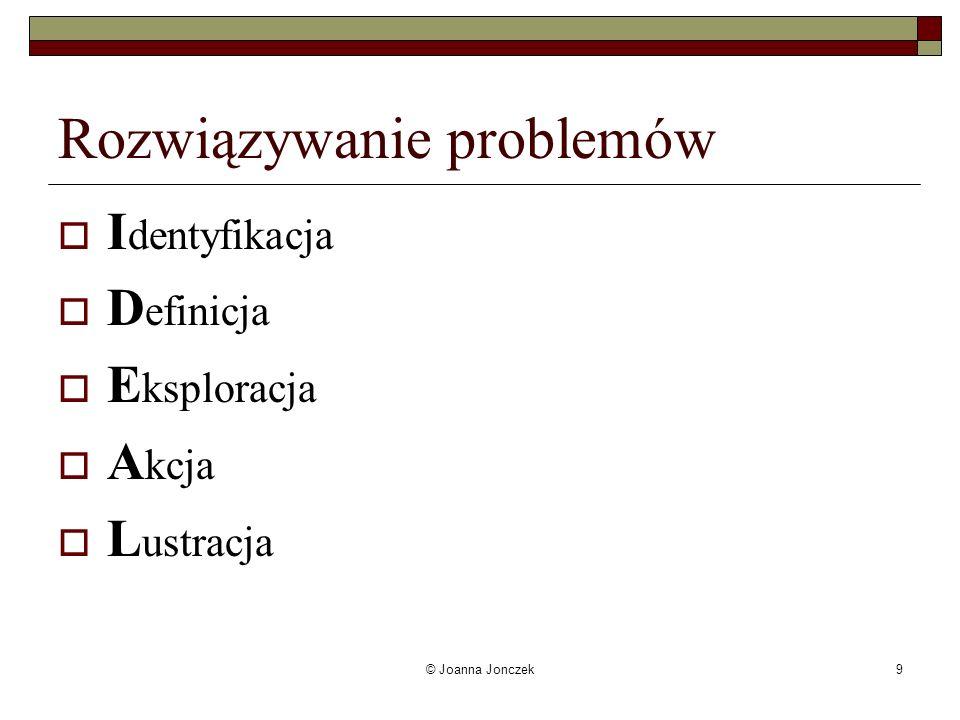 © Joanna Jonczek9 Rozwiązywanie problemów I dentyfikacja D efinicja E ksploracja A kcja L ustracja