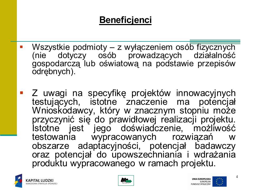 5 Grupa docelowa Projekty innowacyjne muszą wspierać grupy docelowe wpisujące się w cele Priorytetu VIII PO KL.
