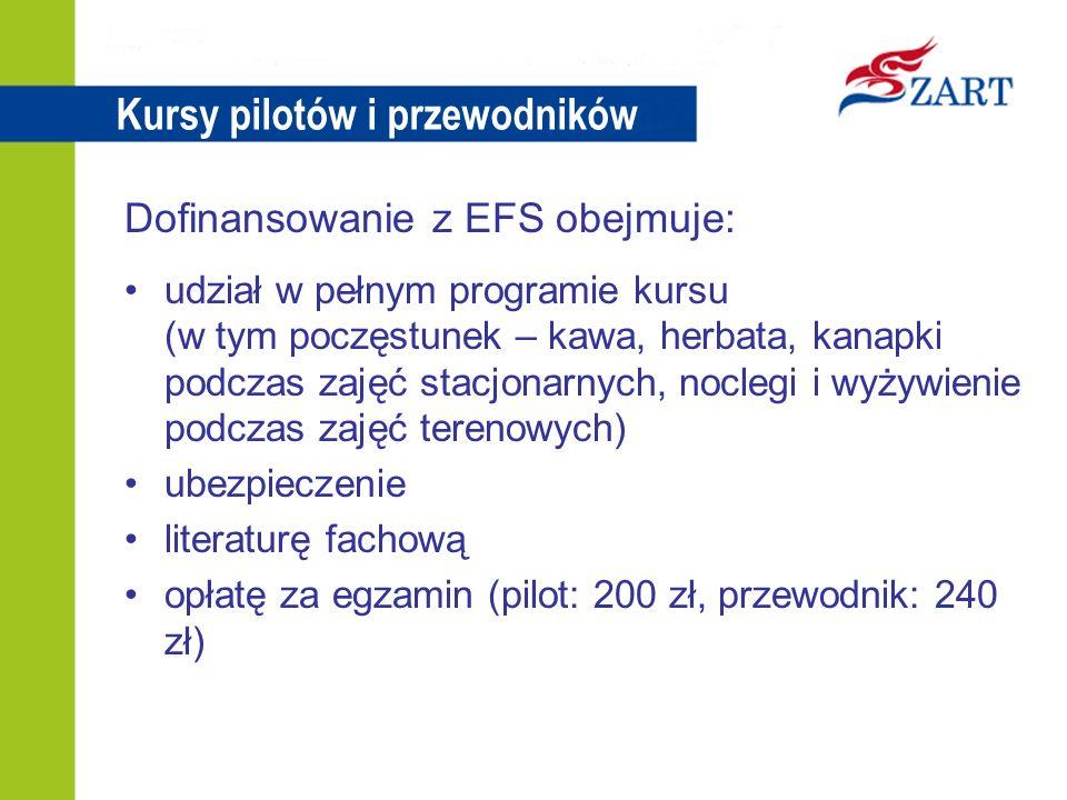 Kursy pilotów i przewodników Dofinansowanie z EFS obejmuje: udział w pełnym programie kursu (w tym poczęstunek – kawa, herbata, kanapki podczas zajęć stacjonarnych, noclegi i wyżywienie podczas zajęć terenowych) ubezpieczenie literaturę fachową opłatę za egzamin (pilot: 200 zł, przewodnik: 240 zł)