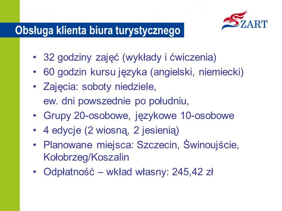 Obsługa klienta biura turystycznego 32 godziny zajęć (wykłady i ćwiczenia) 60 godzin kursu języka (angielski, niemiecki) Zajęcia: soboty niedziele, ew.