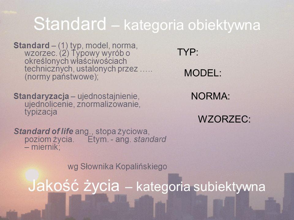 Standard – kategoria obiektywna Standard – (1) typ, model, norma, wzorzec.