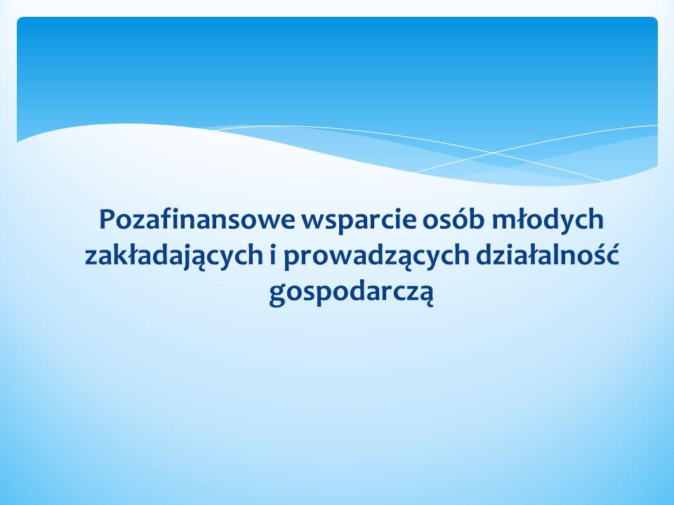Inne formy wsparcia Wsparcie pomostowe Operatorzy wyłonieni zgodnie z Zasadami dokonywania wyboru projektów w ramach Programu Operacyjnego kapitał Ludzki – Działanie 6.2 Wsparcie oraz promocja przedsiębiorczości i samozatrudnienia – lista operatorów na stronie www.up.gov.pl/poklwww.up.gov.pl/pokl Możliwość korzystania ze sprzętu specjalistycznego Elbląski Inkubator Nowoczesnych Technologii Informatycznych (www.einti.eu)www.einti.eu Formy wsparcia