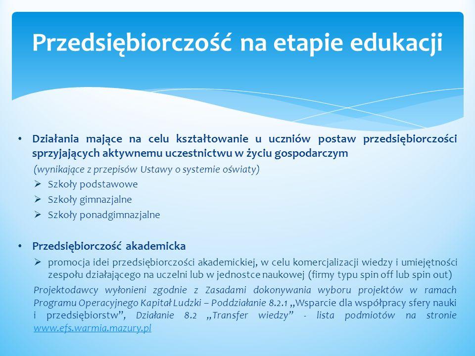 przedsiębiorczości Dodatkowe zajęcia (pozalekcyjne i pozaszkolne) dla uczniów ukierunkowane na rozwój kompetencji kluczowych, ze szczególnym uwzględnieniem ICT, języków obcych, przedsiębiorczości oraz nauk przyrodniczo - matematycznych Podmioty, z wyłączeniem osób fizycznych (nie dotyczy osób prowadzących działalność gospodarczą lub oświatową na podstawie przepisów odrębnych), będące organami prowadzącymi szkołę/placówkę oświatową, w której realizowany jest projekt, lub inne podmioty prowadzące statutową działalność w zakresie edukacji, realizujące projekt w partnerstwie z organem prowadzącym szkołę/placówkę oświatową, w której realizowany jest projekt Projektodawcy wyłonieni zgodnie z Zasadami dokonywania wyboru projektów w ramach Programu Operacyjnego Kapitał Ludzki – Poddziałanie 9.1.2 Wyrównywanie szans edukacyjnych uczniów z grup o utrudnionym dostępie do edukacji oraz zmniejszanie różnic w jakości usług edukacyjnych, Działanie 9.2 Podniesienie atrakcyjności i jakości szkolnictwa zawodowego - lista podmiotów na stronie www.efs.warmia.mazury.plwww.efs.warmia.mazury.pl Przedsiębiorczość na etapie edukacji