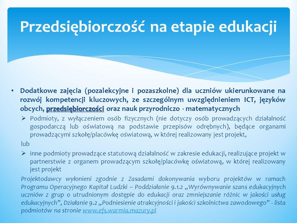 przedsiębiorczości Dodatkowe zajęcia (pozalekcyjne i pozaszkolne) dla uczniów ukierunkowane na rozwój kompetencji kluczowych, ze szczególnym uwzględni