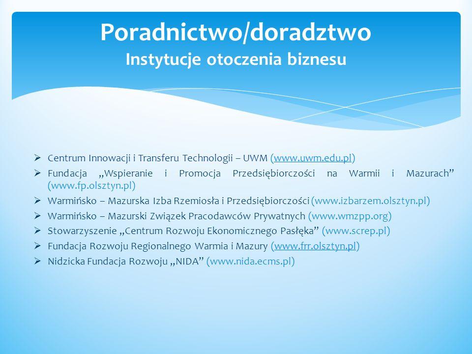Centrum Innowacji i Transferu Technologii – UWM (www.uwm.edu.pl)www.uwm.edu.pl Fundacja Wspieranie i Promocja Przedsiębiorczości na Warmii i Mazurach