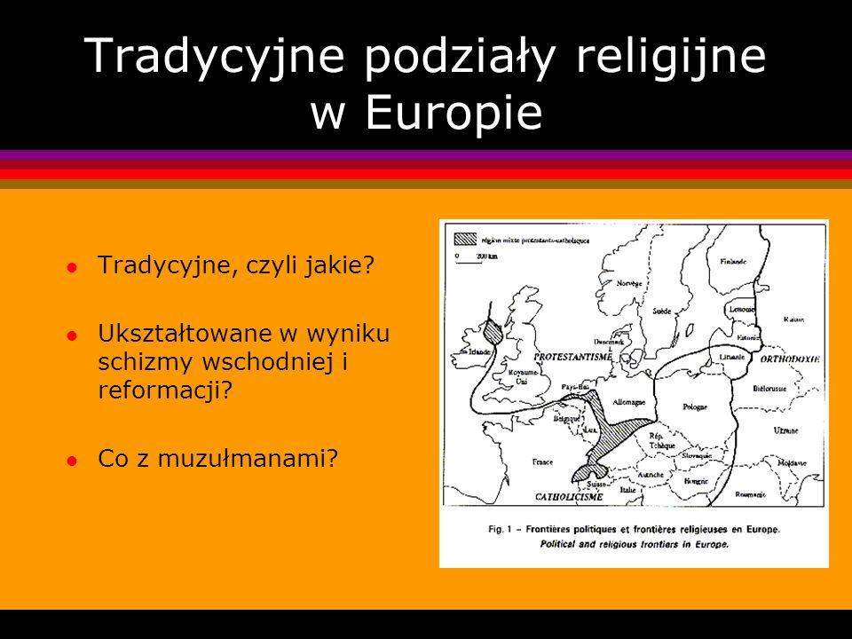 Tradycyjne podziały religijne w Europie l Tradycyjne, czyli jakie? l Ukształtowane w wyniku schizmy wschodniej i reformacji? l Co z muzułmanami?