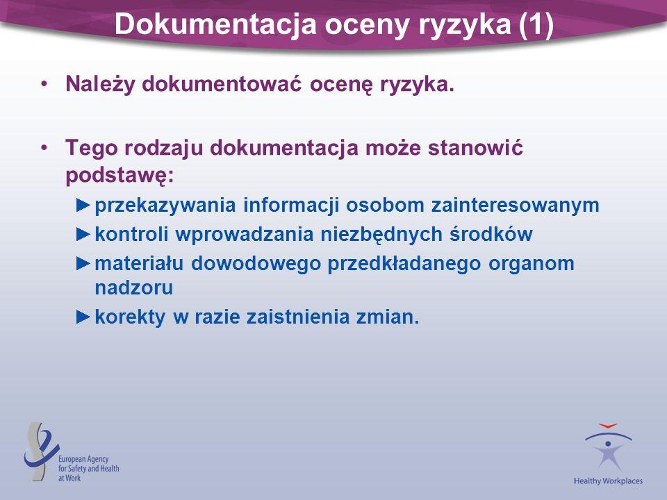 Dokumentacja oceny ryzyka (1) Należy dokumentować ocenę ryzyka. Tego rodzaju dokumentacja może stanowić podstawę: przekazywania informacji osobom zain