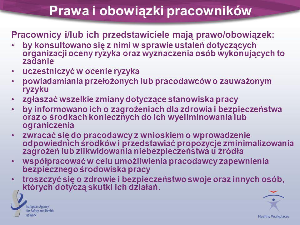 Prawa i obowiązki pracowników Pracownicy i/lub ich przedstawiciele mają prawo/obowiązek: by konsultowano się z nimi w sprawie ustaleń dotyczących orga