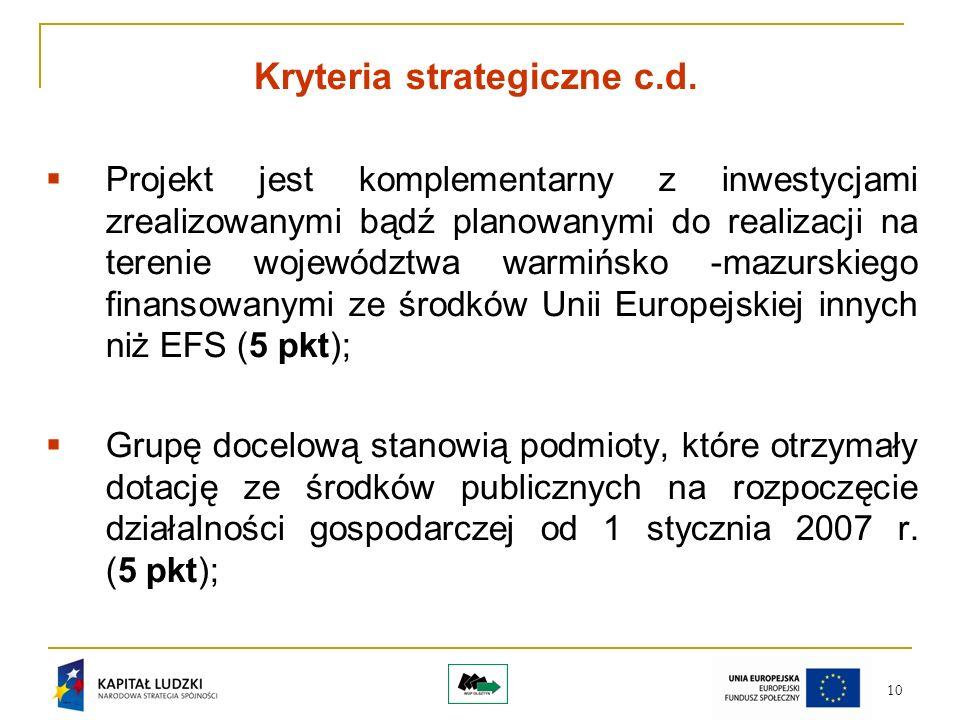 10 Kryteria strategiczne c.d.