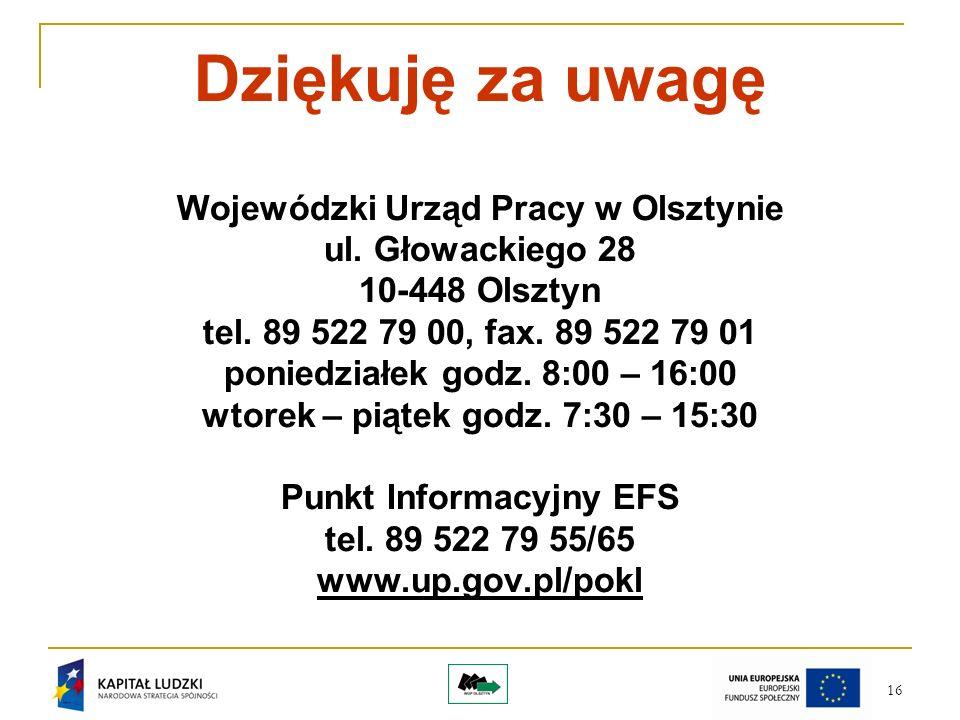 16 Dziękuję za uwagę Wojewódzki Urząd Pracy w Olsztynie ul.